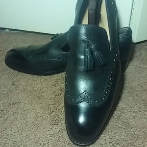 JD Fisk black tassel wingtip loafer 9.5D